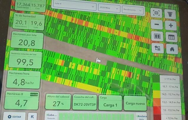 Mapa de cosecha de maíz